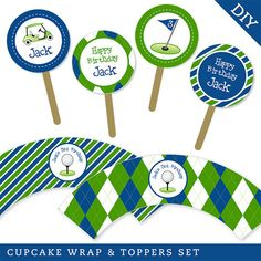 Navy Golf Party Cupcake Wrapper and Topper Set (Digital File)