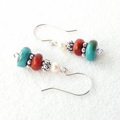 Turquoise Earrings Red Coral Earrings Southwestern Jewelry