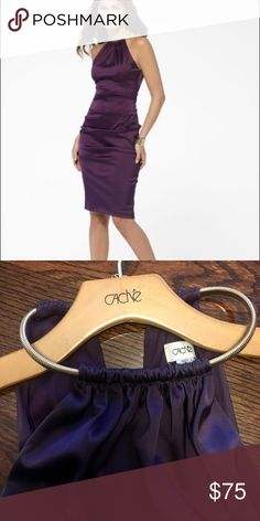 ✨SALE✨ Caché Eggplant Cocktail Dress Gold Collar Eggplant Cache Cocktail Dress - gold metal link collar. Only wore once, but a super pretty flattering dress Cache Dresses