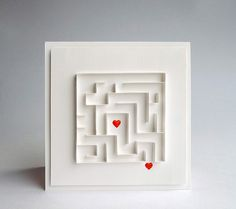 handmade card ... white with a pops of red ... luv the quilled maze ... two sweet hearts with a bit of crystal glaze ... great graphic look ...