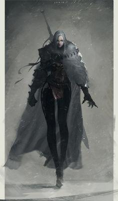 Dark Paladin by Ben Juniu Character Design Cartoon, Fantasy Character Design, Character Design Inspiration, Character Concept, Character Art, Concept Art, Character Ideas, Dark Fantasy Art, Fantasy Women
