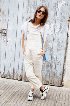 white overalls sporty look