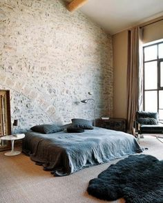 Bedroom black bed exposed brick 57 ideas for 2019 Bedroom Black, Bedroom Wall, Brick Bedroom, Calm Bedroom, Bedroom Ideas, Stone Interior, Rustic Room, Interior Decorating, Interior Design