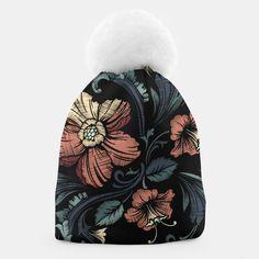 Black Floral Beanie