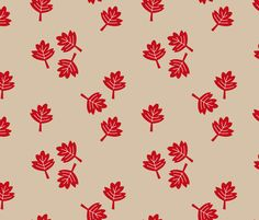 Canadian maple leaf autumn woodland print red gender neutral beige LARGE fabric - surface design by Little Smilemakers on Spoonflower - custom fabric and wallpaper inspiration for kids clothes fun fashion and trendy home decorations.