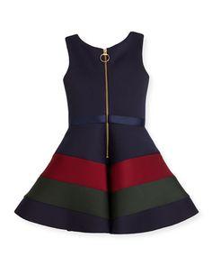 Z1RC1 Zoe Sleeveless Belted Colorblock Ponte Dress, Navy, Size 7-16