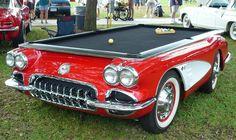 Para amantes de carro e de sinuca. 1959 Corvette Authentic Pool Table-Chevy Mall.