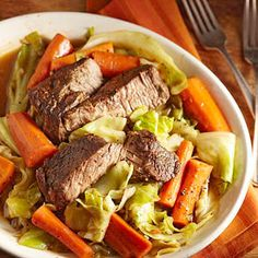 Slow-Cooked Beef with Carrots and Cabbage. This Just Looks So Good!