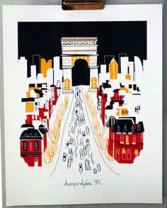 Champs-Elysée, Paris print by Albie Designs (via Etsy). Paris 3, I Love Paris, Beautiful Paris, Beautiful Flowers, Paris Illustration, Graphic Illustrations, Paris Ville, Oui Oui, Vintage Travel Posters