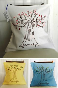 Family tree pillow - draw trunk and write out names in script with pencil. Then embroider. Love this!
