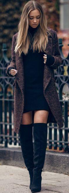 Thigh high boots with dresses. Pinterest:@jordanlanai