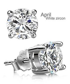 UHIBROS Sterling Silver Birthstone Stud Earrings Round Cubic Zirconia Diamond April