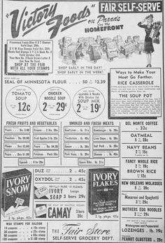 Sept. 14, 1943 - Fair Self-Serve grocery advertisement. Victory foods on the Parade for the Homefront.