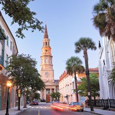 Charleston, SC, clock tower in Holy City, founded 1870 as Charles Towne
