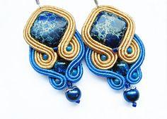 Gold blue soutache earrings-Crystal gemstone earrings-Blue jasper earrings-Bohemian boho hippie beaded earrings