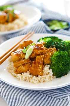 These Honey Teriyaki Chicken Bowls are a quick dinner! Chicken is sauteed until juicy & simmered in a homemade, healthy teriyaki sauce.