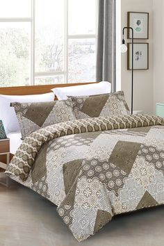 Antique Mosaic King Duvet Cover Set - Brown by California Design Den on…