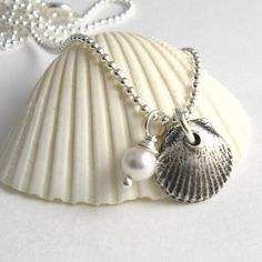 Silver Sea Shell Necklace Silver Seashell by newhopebeading, $34.00