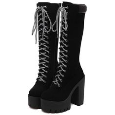 Black Chunky Heel Platform Mid-Calf Boots ($65) ❤ liked on Polyvore featuring shoes, boots, heels, calf length boots, mid calf boots, black boots, platform boots and kohl boots