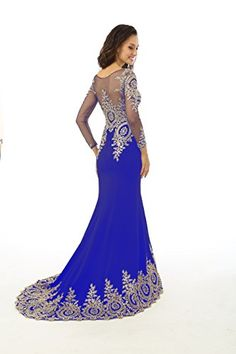 31fa376dddc Annies Bridal Long Sleeve Evening Dresses Formal Mermaid Prom Gown Royal  Blue US26W -- Want