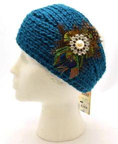 Winter Mudd Women Teal Blue Headband Crocheted Feather Fake Crystal New 3122