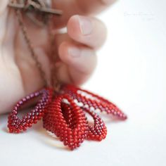 Red Leaves Necklace Beadwork Glass Love Color by SarahRobinL, $40.00