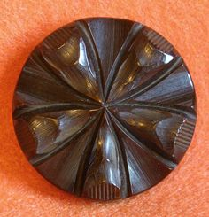 Fabulous CARVED BAKELITE Chocolate Brown Large Vintage Old Estate Button.