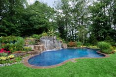 Backyard Swimming Pool Designs | Backyard natural lagoon inground pool and waterfall designs and ...