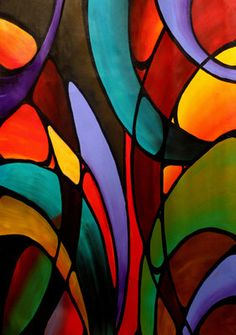 5 x 7 art print in an 8 x 10 mat Modern Abstract Contemporary colorful psychedelic conceptual church window #EasyPin
