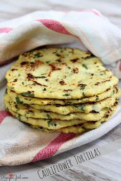 Cauliflower Tortillas - Use them like regular tortillas with taco filling! #glutenfree #grainfree