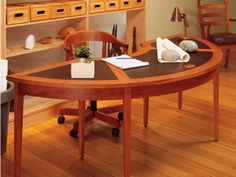 Curved desk - perfect shui and just a gorgeous piece and chair! Decor Interior Design, Interior Decorating, Curved Desk, Home Office, Office Desk, My Room, Wood Furniture, Dining Table, Diy Stuff