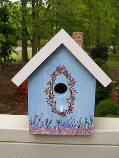Great hand-painted birdhouses!