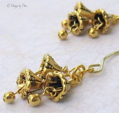 Golden Jingle Bells Earrings on Handmade Almond Earwires by #DesignsbyCher #jetteam #jewelryonetsy