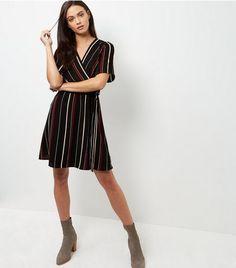 Black Stripe Wrap Front Dress | New Look