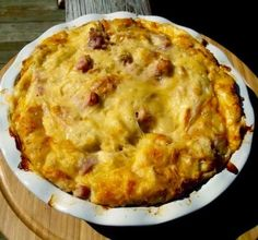 """Ham and Cheese Strata Recipe -Beloved ingredients go all """"fancy brunch"""" on us. Strata Recipes, Brunch Recipes, Breakfast Recipes, Brunch Ideas, Yummy Recipes, Brunch Menu, Savoury Recipes, Pork Recipes, Breakfast Ideas"""