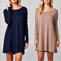 The CATHERINE long sleeve dress -TAUPE HP 3/27Solid long sleeve dress. Can also be worn as tunic top. 95% rayon, 5% spandex. Taupe available now. ‼️NO TRADE‼️ Dresses Long Sleeve