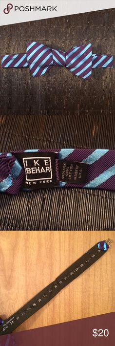 Ike Behar Blue/Purple Striped Bow Tie - 60% silk, 40% cotton / hand crafted in the U.S.  - All over stripe print - Adjustable hook strap for easy sizing - Never worn; mint condition  - Care: Dry clean only Ike Behar Accessories Ties