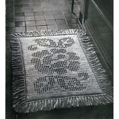This pattern contains instructions to crochet the rug shown above.   The pattern is worked by row to a chart of the lovely rose motif.  The actual colors are not specified - your choice of a primary and two secondary.  The pattern indicates the 29 x 40 inch rug is reversible.  This pattern if vintage 1940s.   MATERIALS:  - Bucilla Wonder-Knit, Article 3777, 8 skeins Light Color (A); 8 skeins Dark Color (B).  - Steel Crochet Hook, Size O.   GAUGE: 5 sts = 1 inch  :  2 rows = 1 inch  ...