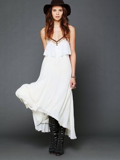 The heavy ease of this dress screams front seat of an old beater on the TransCanada  Free People Gypsy Heart Dress, C$197.47