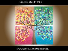 Original Four Seasons Painting  Large 36 Square by QiQiGallery, $365.00