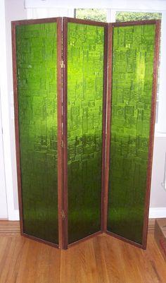 MCM plexiglass room divider in emerald green - i need this glass sooo bad!