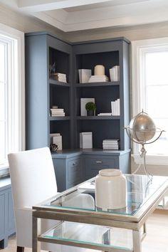 Home office furniture ideas blue corner shelf unit glass table