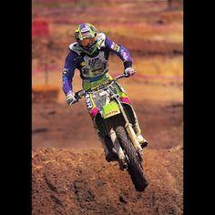 Mike LaRocco ripping on his Factory Kawasaki KX125 at the 1992 Hangtown National - Fran Kuhn Photo #LaRocket #125sRule #Motocross #90sMoto