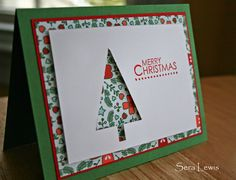 Nordic Noel paper hard at work in this Stampin' Up! Christmas Card. Trees for everyone!