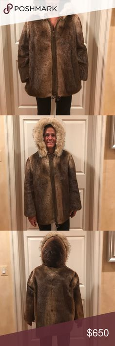 Adorable beaver bomber - perfect for work or play! Beaver jacket in luscious shades of chestnut with hood trimmed in fox and lined in brown velvet is comfortable, warm and ready to withstand the elements. Fingertip length. Excellent condition. Jackets & Coats