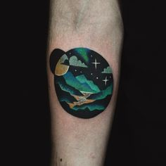 Arm tattoo ideas like this Above the Mountains UFO tattoo by David Cote is unique and awesome. Scotland Tattoo, Ireland Tattoo, Forest Tattoos, Nature Tattoos, Pretty Tattoos, Beautiful Tattoos, Finger Tattoos, Body Art Tattoos, Small Tattoos