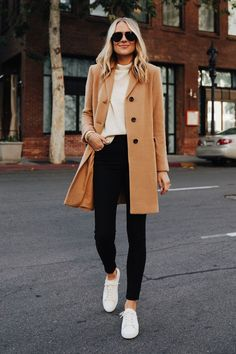 Fashion Jackson Wearing Ann Taylor Camel Coat White Sweater Black Skinny Jeans White Sneakers 1 Source by fashion_jackson Fall Fashion 2020 Trendy Fall Outfits, Winter Fashion Outfits, Fall Winter Outfits, Simple Outfits, Look Fashion, Autumn Winter Fashion, Chic Fall Fashion, Fall Fashion Women, Women Fall Outfits