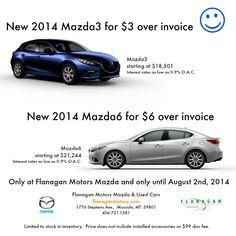 New 2014 Mazda3's now $3 over invoice at Flanagan Motors Mazda & Used Cars.  http://FlanaganMotors.com.