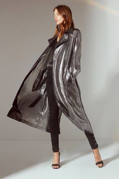 Metallic Belted Trench