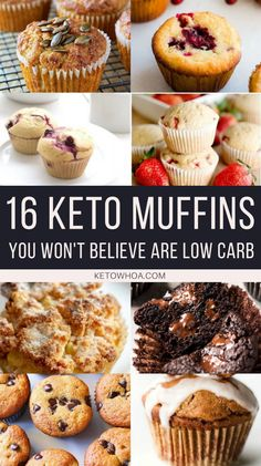 16 Best Low Carb Keto Muffin Recipes To Power Your Mornings - Keto Whoa - These 16 Best Low Carb Keto Muffin Recipes are moist, delicious, and perfectly portable. Enjoy them for breakfast, lunch, and even dessert! Vegan Keto, Vegetarian Keto, Paleo, Vegetarian Breakfast, Keto Muffin Recipe, Muffin Recipes, Low Carb Keto, Low Carb Recipes, Diet Recipes